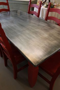 Decoration Kitchen - How to: cover table top with zinc (kitchen counter) Zinc Table, A Table, Metal Top Table, Steel Table, Patio Table, Furniture Projects, Furniture Makeover, Furniture Websites, Red Kitchen Tables