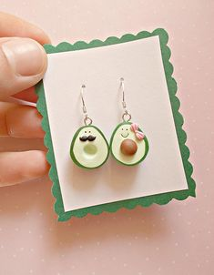 Avocado earrings created from polymer clay without molds or forms. The lenght of each earring is 4.2 cm, measured with hooks. They are not heavy, they are suitable also for children. ❀ Price is for one pair of earrings. ❀ I ship the orders in cute boxes handcrafted by myself! ❀ If you buy