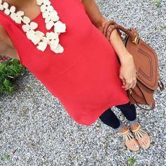 @brightonkeller #ootd high-neck poppy shirt with baublebar statement necklace and fringe rebecca minkoff sandals (on sale!)