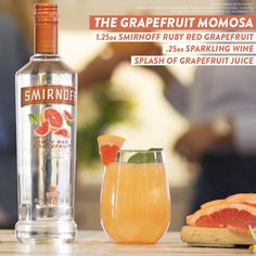 The Grapefruit Momosa is the simple Mother's Day brunch cocktail. Just mix 1.25oz Smirnoff® Ruby Red Grapefruit, .25oz Sparkling Wine and a splash of Grapefruit Juice.