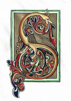 S Bible enluminée Date Medieval Books, Medieval Manuscript, Medieval Art, Illuminated Letters, Illuminated Manuscript, Eslava, Medieval Dragon, Fancy Letters, Embroidery Alphabet