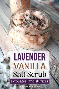 The Best DIY Salt Scrub Recipe – with Himalayan Salt and Essential Oils - Lavender and vanilla salt scrub smells amazing and it is so easy to make! Body scrubs exfoliate and - Salt Scrub Recipe, Body Scrub Recipe, Diy Body Scrub, Diy Scrub, Salt Body Scrub, Homemade Scrub, Sugar Scrub Diy, Sugar Scrubs, Homemade Body Scrubs