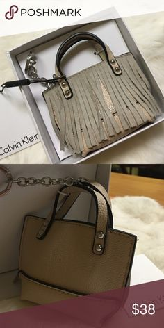 7135da58d22 Take Off Cutest Calvin Klein Tote Key Chain Simply adorbs. Tan mini tote  key chain with super cute fringe. Approximately Item Accessories Key   Card  Holders