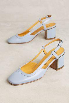 Veronique Branquinho Leather Slingback Block Heels