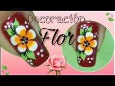 Decoración de uñas con flor - YouTube French Tip Nail Designs, French Tip Nails, Manicure Y Pedicure, Nail Tutorials, Nail Tips, Mandala, Lily, Nail Art, Flowers