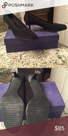 Stuart Weitzman pumps Stuart Weitzman black ultra suede heels with a 2 inch heel. Fabric has micro holes all over. Stuart Weitzman Shoes Heels