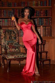 Last Dance Off Shoulder Maxi Dress – Red – fashion nova outfits Black Girl Fashion, Red Fashion, Fashion Outfits, Rhianna Fashion, Stylish Outfits, High Fashion, Fashion Tips, Estilo Rihanna, Bougie Black Girl