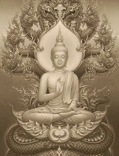 Buddha & Nāga ☸️ Naga deva protects Buddha from the rain. Buddha Tattoos, Buddha Tattoo Design, Buddha Painting, Buddha Art, Buda Wallpaper, Arte Shiva, Hanya Tattoo, Thailand Art, Oriental Tattoo