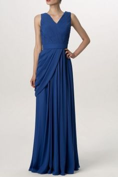 Pleated & Draped Cobalt Blue Chiffon Sleeveless V-neck Formal Long Bridesmaid Dress - Bridesmaid. Indian Bridesmaid Dresses, Formal Bridesmaids Dresses, Affordable Bridesmaid Dresses, Formal Dresses, Popular Dresses, Trendy Dresses, Dresses For Sale, Fashion Dresses, Drape Gowns