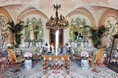 """Henri Samuel created a beguiling fantasia for the Jardin d""""Hiver in Valentino's Château de Wideville, a multipurpose chamber furnished largely au chinois. From the October 2012 issue of Architectural Digest. Photography by Simon Watson."""