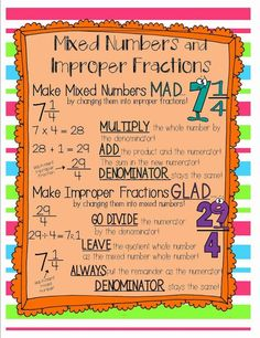 Improper Fractions and Mixed Numbers. {love the MAD and GLAD.who wants to be improper or work with large numbers like in improper fractions ; Math Charts, Math Anchor Charts, Fifth Grade Math, Fourth Grade, Sixth Grade, Improper Fractions, Multiplication, Homeschool Math, Homeschooling
