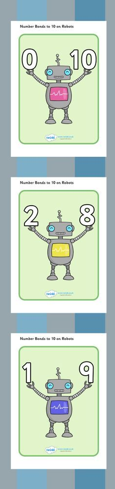 Number Bonds to 10 Display Posters (Robots)