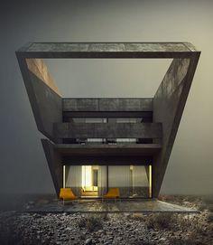 House no. 106 on Behance Minimalist Architecture, Futuristic Architecture, Amazing Architecture, Contemporary Architecture, Architecture Details, Interior Architecture, Bauhaus, Concrete Architecture, Conceptual Design