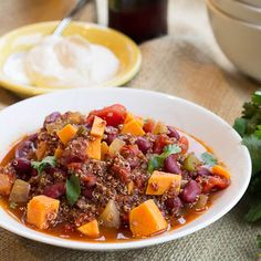 Quinoa, Sweet Potato, and Bean Chili- vegetarian and gluten-free