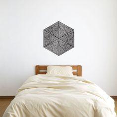 Spirals In Triangles In Hexagon Vinyl Wall Art Sticker by David Thornton.  https://www.vinylrevolution.co.uk/vinyl-shop/artist-series-shop/spirals-in-triangles-in-hexagon-vinyl-wall-art-sticker-by-david-thornton/