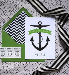 Save The Dates black and white striped anchor nautical chevron emerald kelly green wedding