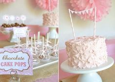 vintage cowgirl birthday party cake pops and a beautiful cake with bunting banner