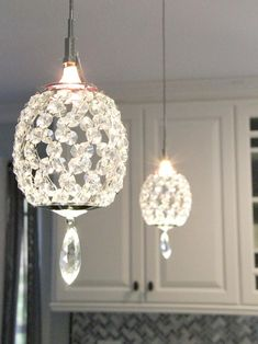 Modern pendant chandelier 15w led crystal pendant lamp three head crystal pendant lights over a peninsula bring a touch of glam to this transitional kitchen mozeypictures Gallery