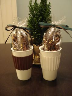 Easy Christmas gifts - homemade Dark Chocolate Pistachio Biscotti wrapped in craft bags an presented in reusable travel mugs (purchased at Big Lots for $2.99 each).