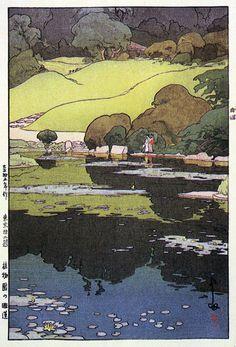 In the Botanical Garden  by Hiroshi Yoshida, 1926