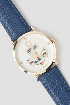 Anchor Watch in Navy. The patriotic anchor design dons sparkly red, white and blue stripes.