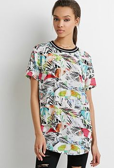Varsity-Striped Abstract Print Top
