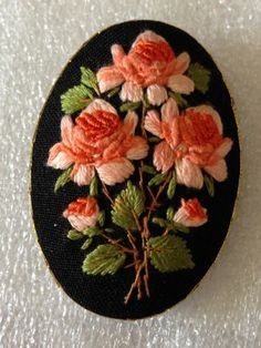 Vintage Hand Embroidered Floral Cameo Pin