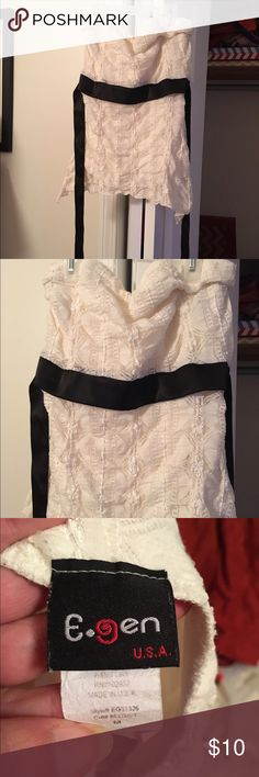 Hot top Cream Lacey tube top with black belt Tops