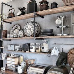 yupinokoさんの、美濃焼,陶器,ディスプレイ,ガス管ウォールラック,アメブロやってます♡,セルフリノベーション,Rustic,rasch,男前,輸入壁紙,見せる収納,DIY,モロッカンセラミック,インスタやってます♡,キッチン雑貨,キッチン,のお部屋写真