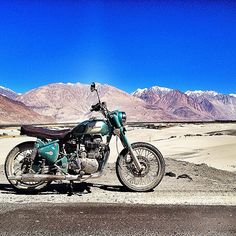 Royal Enfield Motorcycle and the Mountains | Photo from amber.sharma on Instagram