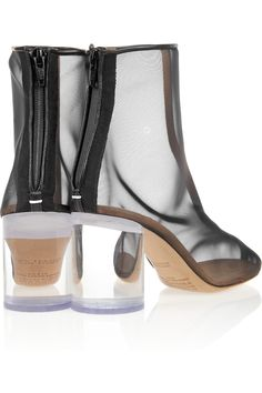 Maison Martin Margiela|Leather-trimmed mesh and Perspex boots