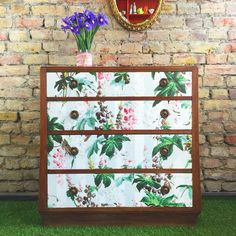 Upcycled / Luxecycled vintage solid wood chest of drawers decoupaged in House Of Hackney Castenea https://www.etsy.com/shop/MuckNBrassLondon