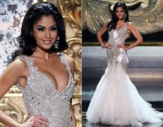 Miss Spain Patricia Yurena Rodriguez appears in the evening gown portion of the Miss Universe Competition on Nv. 9, 2013 wearing a beaded tulle gown.