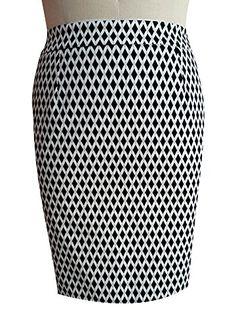 0aca4ac9da4 TD New York Curvy Womens Plus Size CHRISSA Cotton Pencil Skirt in Black  White Geometric Print