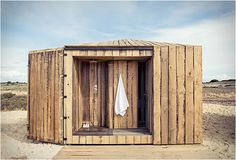 Fishermen's cabin - Shower at 'Cabanas Rio' , Comporta, Portugal - by Manuel Aires Mateus Contemporary Architecture, Architecture Design, Ideas Cabaña, Glamping, Beach Shack, Small Places, Bungalows, Hotels And Resorts, Outdoor Structures