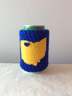 University of Toledo | Toledo, Ohio Crochet Beer Koozie, Coffee Cup Cozy, Bottle Koozie by Maroozi by Maroozi on Etsy