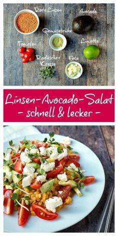 schneller Salat | Mittagessen Büro | Linsen | Avocado | einfach | köstlich | sättigend Party Salads, Easy To Make Appetizers, Avocado Salat, Queso Feta, Lunch To Go, Eat Smart, Food Inspiration, Vegan Recipes, Clean Eating