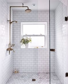 Bathroom decor for your master bathroom remodel. Discover master bathroom organization, bathroom decor suggestions, master bathroom tile some ideas, master bathroom paint colors, and much more. Bathroom Renos, Bathroom Renovations, Modern Bathroom, Bathroom Makeovers, White Subway Tile Bathroom, Bathroom Shower Tiles, Subway Tile Bathrooms, Bathroom Shower Remodel, Bathroom Cabinets
