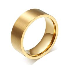 fc4a2fdabd6 Bishilin 8MM Titanium Steel 18K Gold Plated Wedding Rings Anniversary Gift    Read more at the