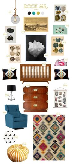 Trend:Agates, crystals, and geology details in home decor. Here is a room for an adventurous little explorer who loves rocks, gems, and digging for treasures. I love that giant crystal poster  what a statement piece!Sources: (1) Morgan Pendant Light; (2) the Grand Canyon; (3) Halite Print; (4) Anthracite Print; (5) Love Rocks; (6) Vintage [...]