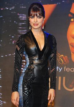 We spy a beauty! Leather Catsuit, Vinyl Dress, Leather Dresses, Leather Outfits, Bathing Costumes, Fashion Night, Priyanka Chopra, Tight Dresses, Leather Fashion