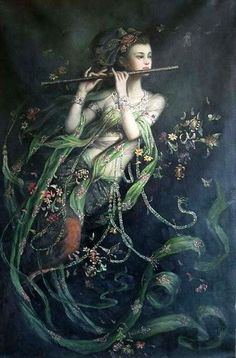 Oil painting, Kwan-yin 24x36  Studio product, no artist listed  http://www.aliexpress.com/item/Oil-painting-flying-China-fairy-girl-Kwan-yin-24x36/381323546.html?tracelog=back_to_detail_b
