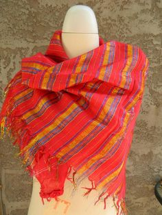Extra Large Square Red and Metallic Striped Scarf / Vintage Scarf / Large Poncho Square Scarf by VintageBaublesnBits on Etsy