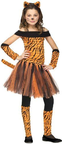 Tigress Kids Halloween Costume 2014 -  Tigress Kids Costume includes an orange and black off-the-shoulder dress, matching sleevelets, a headband with tiger ears and a pair of leg warmers. This cute Tiger Costume for girls is available in kids sizes Small (4-6), Medium (8-10) and Large (12-14).