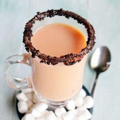 Spiked Pumpkin Pie White Hot Chocolate | diethood.com