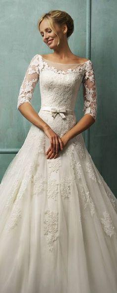 Amelia Sposa Bridal 2014 ~ Donatela -Wedding Dress with 3/4 Lace Sleeves