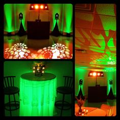 Bold colors can be a vibrant lighting choice, check out this Light Green & Orange Wedding decor!... Wedding DJ-Lighting-Uplighting