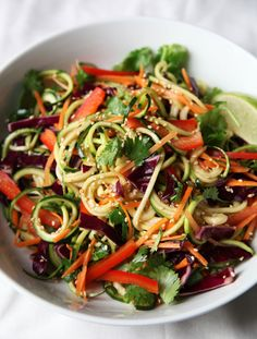 A healthy, delicious, gluten-free Asian inspired salad featuring zoodles (zucchini spiralized as noodles). More at PBS Food. Raw Food Recipes, Chicken Recipes, Cooking Recipes, Healthy Recipes, Tortellini, Paleo, Ratatouille, Asian, Slow Cooker