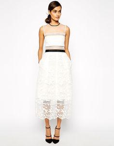 84a881d377d Self Portrait Lila Midi Dress With Contrast Trims Self Portrait Dress  White