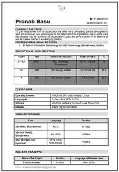 Experienced Resume for BA (Page 1) | Career | Pinterest